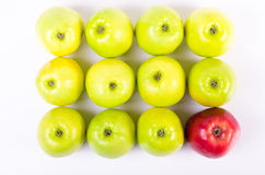 Background of green apples with one red apple Royalty Free Stock Photo
