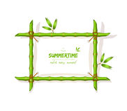 Background with green bamboo frame Stock Photo