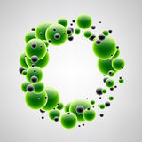 Background with green and black bubbles. Abstract background with black and green 3d bubbles. Vector illustration Stock Images