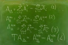 Background - green chalkboard with hand-written formulas. Algorithm for calculating dimension chains by the method of maximum and minimum stock image