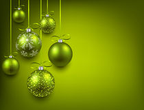 Background with green christmas balls. Royalty Free Stock Image