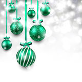 Background with green christmas balls. Royalty Free Stock Photo