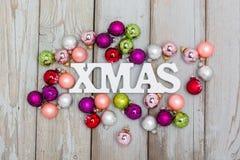 Background green christmas balls Royalty Free Stock Photos