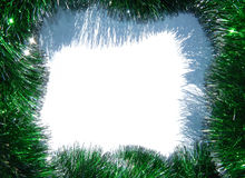 Background of green Christmas garland on white with place for your text Stock Image