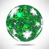 Background of green Christmas trees in the shape of balls Royalty Free Stock Photos