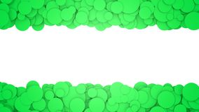 Background with green circles. Graphic illustration with place for text. 3D rendering. Graphic background with empty space in centre Stock Photos