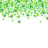 Background with green confetti and clover leaves. Abstract vector background with green confetti and clover leaves for St. Patrick`s Day Royalty Free Stock Image