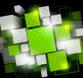 Background with green cubes. Background with green 3d cubes and light Royalty Free Stock Photography