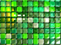 Background green cubes. 3d abstract background squares with different colors and white reflection. three dimensional shape Stock Images