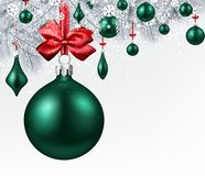 Background with green 3d Christmas ball. Stock Images