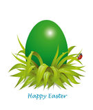 Background for green Easter egg in the grass with ladybug Royalty Free Stock Images