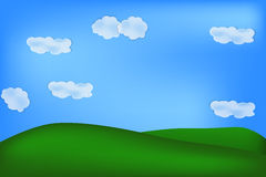 Background of green feild. Natural background of green feeld, sky, clouds and tree Royalty Free Stock Photography