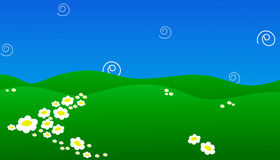 Background of green field with flowers and blue sky  illustration EPS 10. N Stock Photography