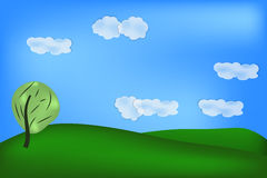 Background of green field. Natural background of green feeld, sky, clouds and tree Stock Photos