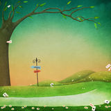 Background green field and trail. Texture fantasy background for an illustration or poster with a green field and  path. Computer graphics Royalty Free Stock Image