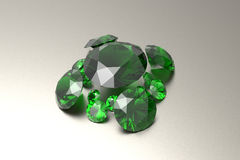 Background with green gemstones. 3D illustration Royalty Free Stock Photo