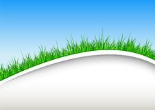 Background with green grass and blue sky. Easter spring concept vector design royalty free illustration