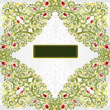 Background with green grass and red flower pattern Stock Images