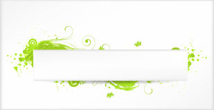 Background with green grunge elements. With floral swirls and horizontal banner Stock Photo