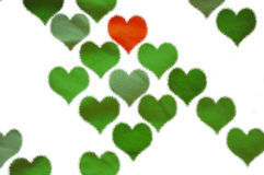 Background with green hearts Stock Image