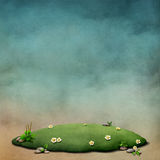Background with green lawn. Fantasy background for an illustration or poster with  green lawn and flowers. Computer graphics Stock Photo
