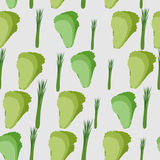 Background of green leaf lettuce. Vector seamless pattern of veg Royalty Free Stock Photography