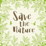 Background with green leaves. Abstract background with green leaves. Ecology concept. Save the nature lettering Stock Photos