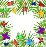 Background  with green leaves and butterflies. Vector  illustration Royalty Free Stock Images
