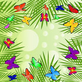 Background  with green leaves and butterflies. Vector  illustration Royalty Free Stock Photo
