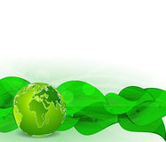 Background with green leaves and globe Royalty Free Stock Images