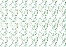 Background of green leaves. A hand drawn of leaves seamless background with water color and pencil effect. Comes in dark green color Royalty Free Stock Image