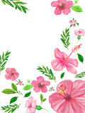 Background with green leaves and pink flowers hand painted with oil crayons Stock Photo