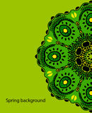 Background with green Mandala. Vector ornament, round decorative element for your design Stock Photos