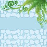 Palm leaves and abstract pattern Stock Photography