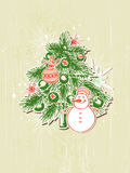 Background with green  paper fir and snowman Stock Image