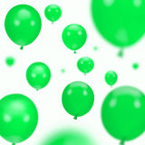 Background of green party balloons. On white stock image