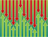Arrows ups and downs. Background of green and red arrows ups and downs Stock Image