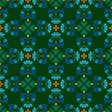 Background, green, seamless pattern with blue flowers. Vector seamless pattern with green and blue flowers on a green background. For the decoration Royalty Free Stock Photo