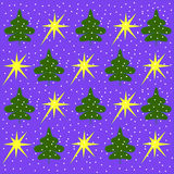 The background of green trees and yellow stars on a light blue Royalty Free Stock Photo