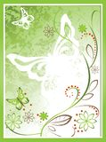 Floral background with butterflies on a green background. stock illustration