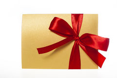 Background for greeting card with a red bow. Isolated Stock Image