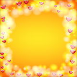 Background for greeting card for Valentine`s day. Hearts around Royalty Free Stock Photography