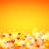 Background for greeting card for Valentine`s day. The hearts at the bottom Royalty Free Stock Photography