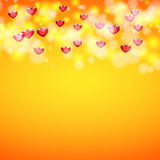 Background for greeting card for Valentine`s day. The hearts at the top Royalty Free Stock Photos