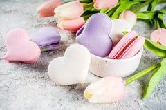 Valentine day`s macaron cookies royalty free stock image