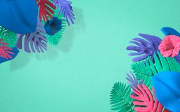 Background For Greeting Cards Or Ads With Strongly Colored Jungle Plants. Brightly colored jungle plants sit in the corners of this interesting design. The royalty free illustration