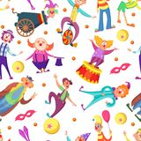 Background for greeting cards. Seamless pattern with funny clowns in cartoon style. Clown background seamless, happy, joker and jester, vector illustration vector illustration