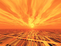 Background Grid Horizon Red Sky Royalty Free Stock Photo