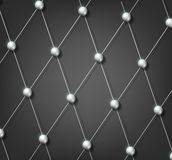 Background grid with metal balls Stock Images