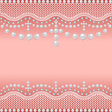 Background with a grid of pearls and precious stones Stock Photography
